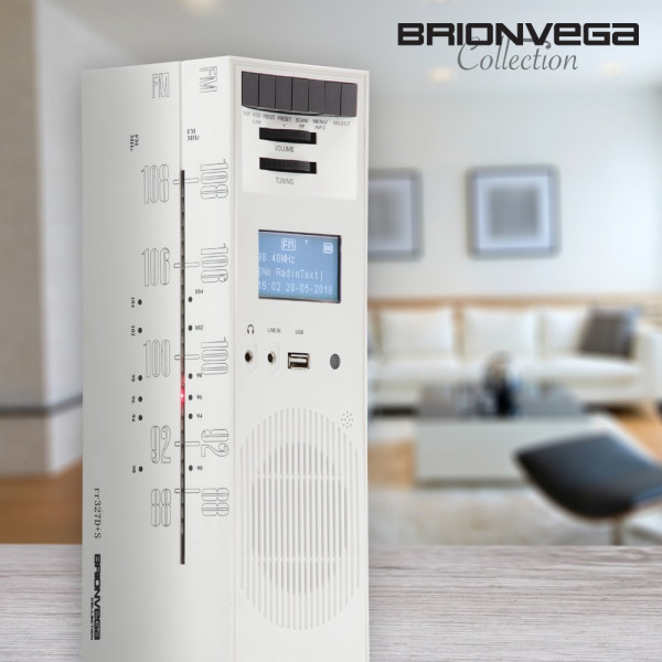 BRIONVEGA RADIO GRATTACIELO RR327D+S WHITE SNOW