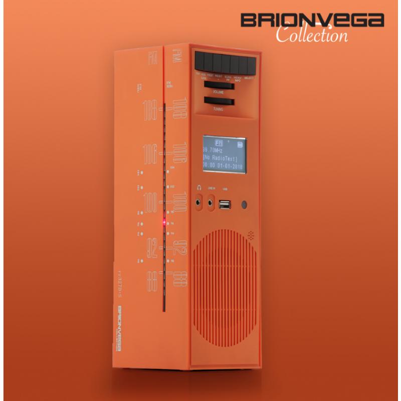 BRIONVEGA RADIO GRATTACIELO RR327D+S ORANGE SUN